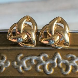 Givenchy Vintage Gold Tone Knot Statement Earrings